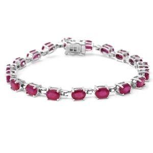 Jewelry - NWT GENUINE RUBY TENNIS BRACELET IN .925 STERLING